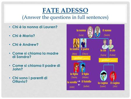 FATE ADESSO (Answer the questions in full sentences) Chi è la nonna di Lauren? Chi è Maria? Chi è Andrew? Come si chiama la madre di Sandra? Come si chiama.