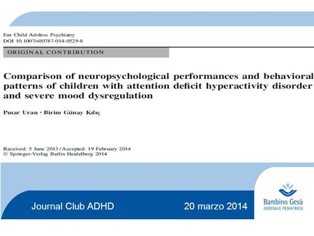 Journal Club ADHD marzo 2014
