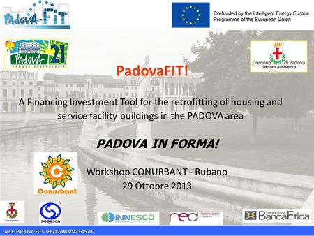 MLEI PADOVA FIT!- IEE/12/083/SI2.645707 PadovaFIT! A Financing Investment Tool for the retrofitting of housing and service facility buildings in the PADOVA.