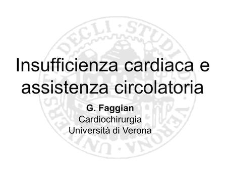Insufficienza cardiaca e assistenza circolatoria