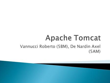 "Vannucci Roberto (5BM), De Nardin Axel (5AM).  ""Apache Tomcat is an open source software implementation of the Java Servlet and."