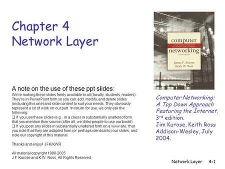 Network Layer4-1 Chapter 4 Network Layer Computer Networking: A Top Down Approach Featuring the Internet, 3 rd edition. Jim Kurose, Keith Ross Addison-Wesley,