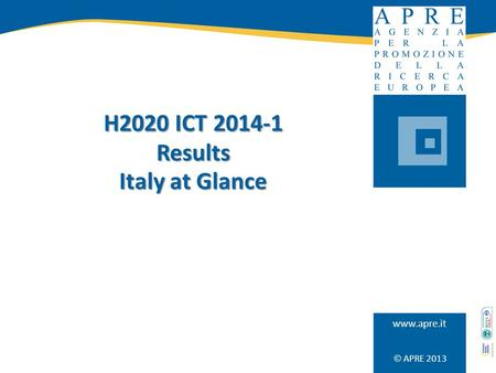  APRE 2013 www.apre.it H2020 ICT 2014-1 Results Italy at Glance.