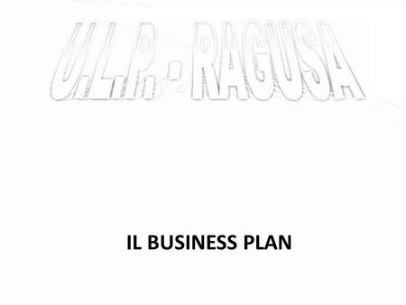 IL BUSINESS PLAN.