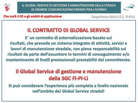 1. GOVERNO ASSUNTORE O GENERAL CONTRACTOR Attività di Governo Gestione sistemi ITS Sala Radio e Call Center Monitoraggio e rilievo dati Gestione sinistri.