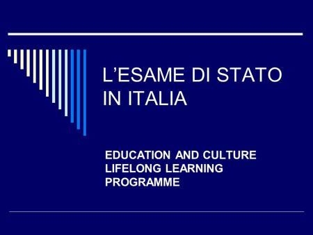 L'ESAME DI STATO IN ITALIA EDUCATION AND CULTURE LIFELONG LEARNING PROGRAMME.