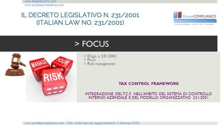 > FOCUS > D.Lgs. n. 231/2001 > Fisco > Risk management
