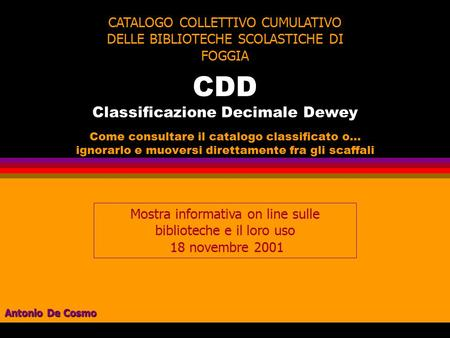 CDD Classificazione Decimale Dewey
