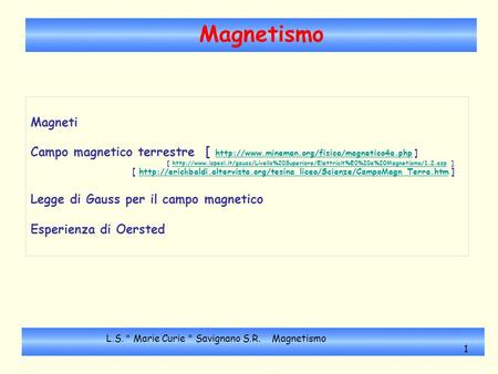 Magnetismo Magneti Campo magnetico terrestre [  ]  [
