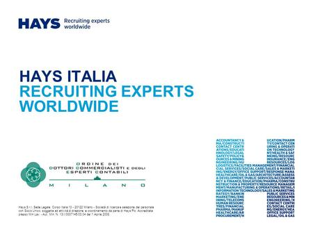 HAYS ITALIA RECRUITING EXPERTS WORLDWIDE
