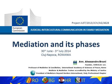 JUDICIAL INTERCULTURAL COMMUNICATION IN FAMILY MEDIATION Project JUST/2013/JCIV/AG/4628 Mediation and its phases 30 th June - 3 rd July 2014 Cluj-Napoca,