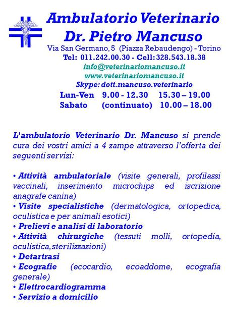 Ambulatorio Veterinario Skype: dott.mancuso.veterinario