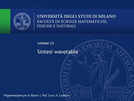 Sintesi wavetable Lezione 23