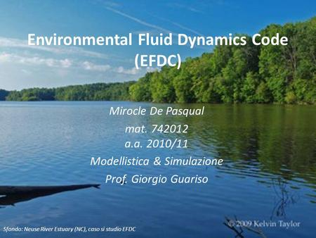 Environmental Fluid Dynamics Code (EFDC)
