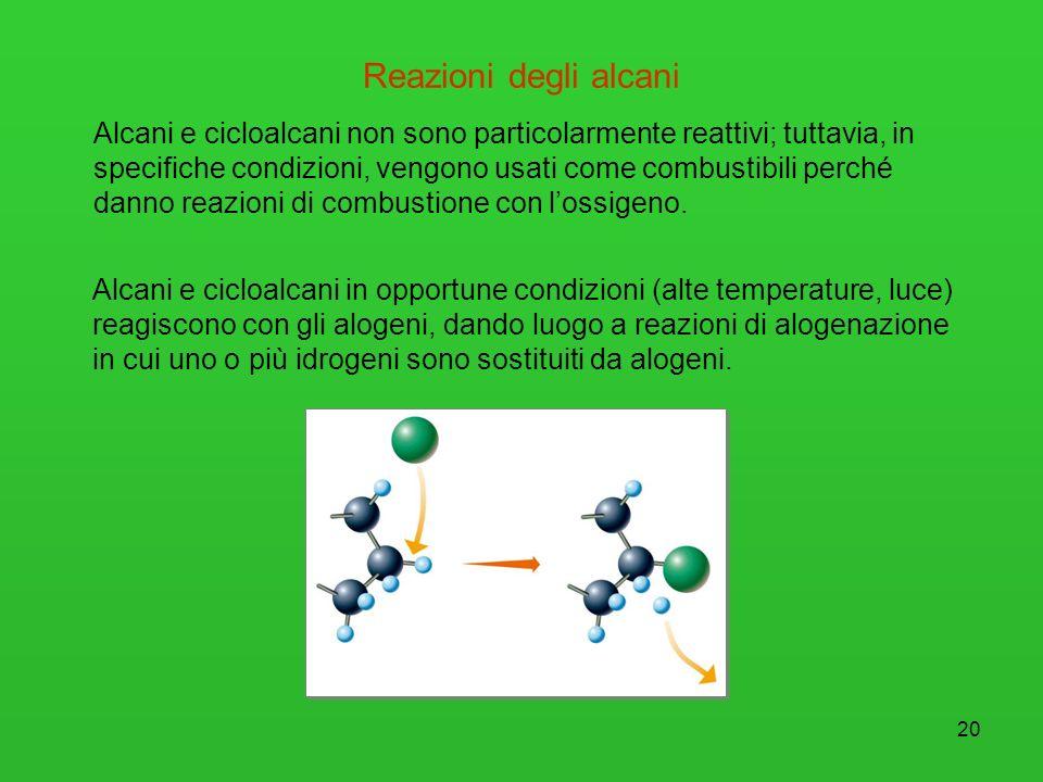 21 Reazioni degli alcani Gli alcani sono poco reattivi ma possono reagire ad alta temperatura Reazione di combustione: Reazione tra lalcano ed ossigeno con formazione di CO 2 e H 2 O.