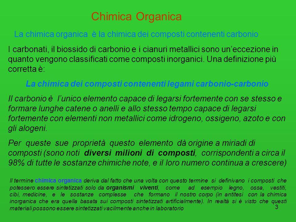 4 Campi di interesse della chimica organica sistemi viventi processi biologici farmaci Visto lelevatissimo numero di composti organici esistenti, la chimica organica riveste un ruolo fondamentale in innumerevoli campi.