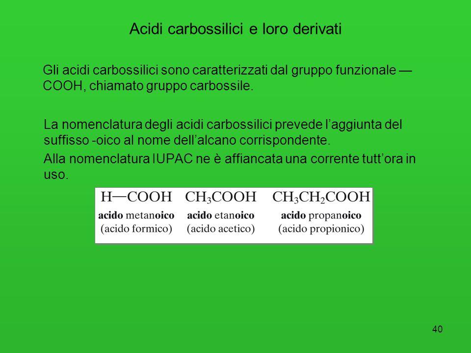 41 Acidi carbossilici e loro derivati Gli acidi carbossilici tendono a formare legami a idrogeno intermolecolari; pertanto presentano punti di ebollizione abbastanza alti.
