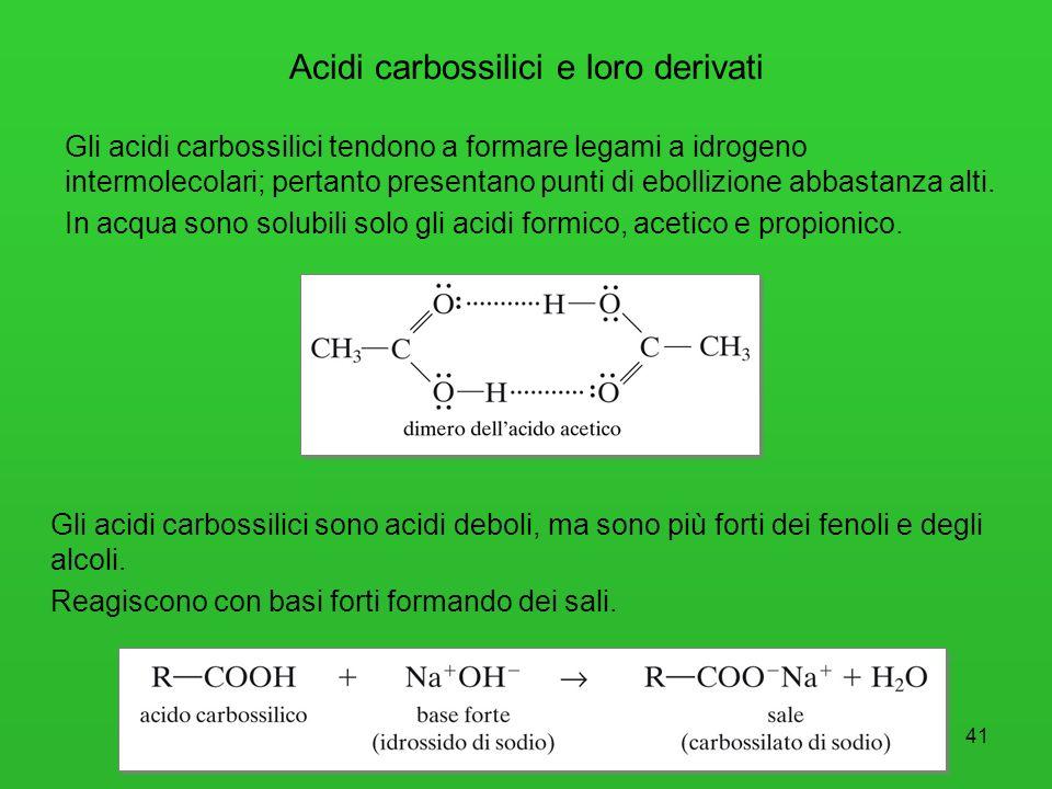 42 A partire dagli acidi carbossilici, con reagenti adeguati, si ottengono diversi derivati, tutti caratterizzati dalla presenza del gruppo acilico RCO.
