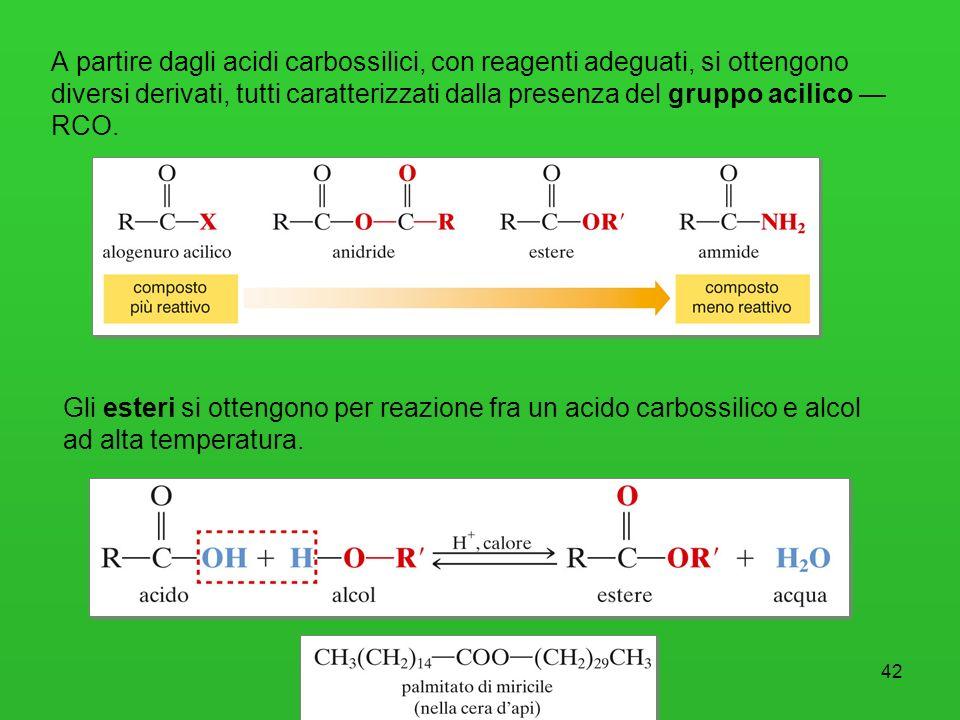 43 Acidi carbossilici e loro derivati I grassi (solidi e saturi) e gli oli (liquidi e insaturi) sono esteri del glicerolo (trigliceridi) con acidi carbossilici a lunga catena sia saturi sia insaturi.