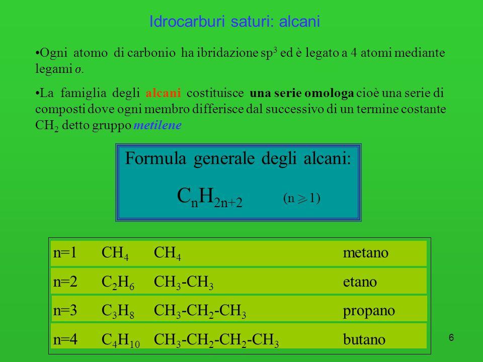 7 C 109°28 Alcani: struttura tetraedrica del carbonio Rappresentazione tridimensionale della molecola di CH 4.