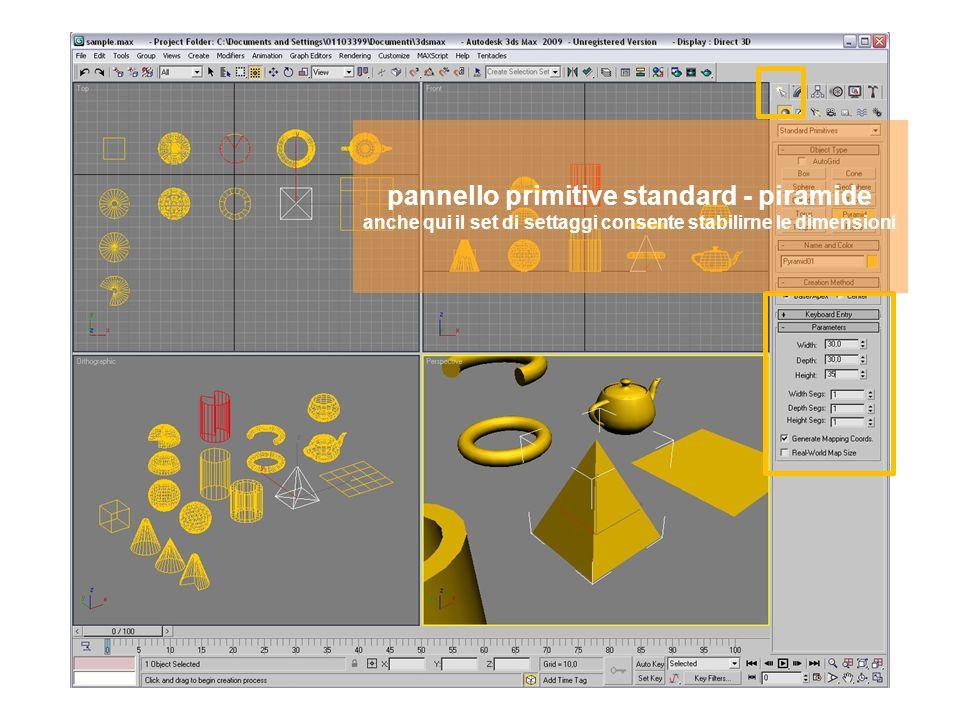 pannello primitive standard - piano anche qui il set di settaggi consente stabilirne le dimensioni e la risoluzione geometrica