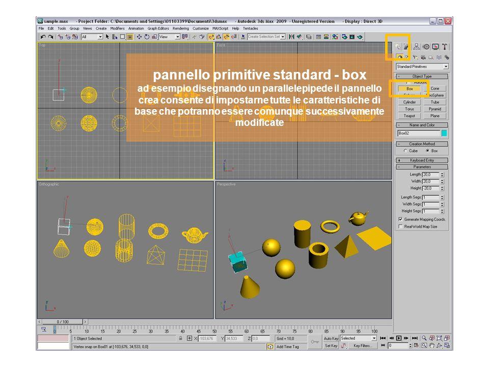 pannello primitive standard - sfera ad esempio disegnando una sfera il pannello crea consente di impostarne tutte le caratteristiche di base che potranno essere comunque successivamente modificate