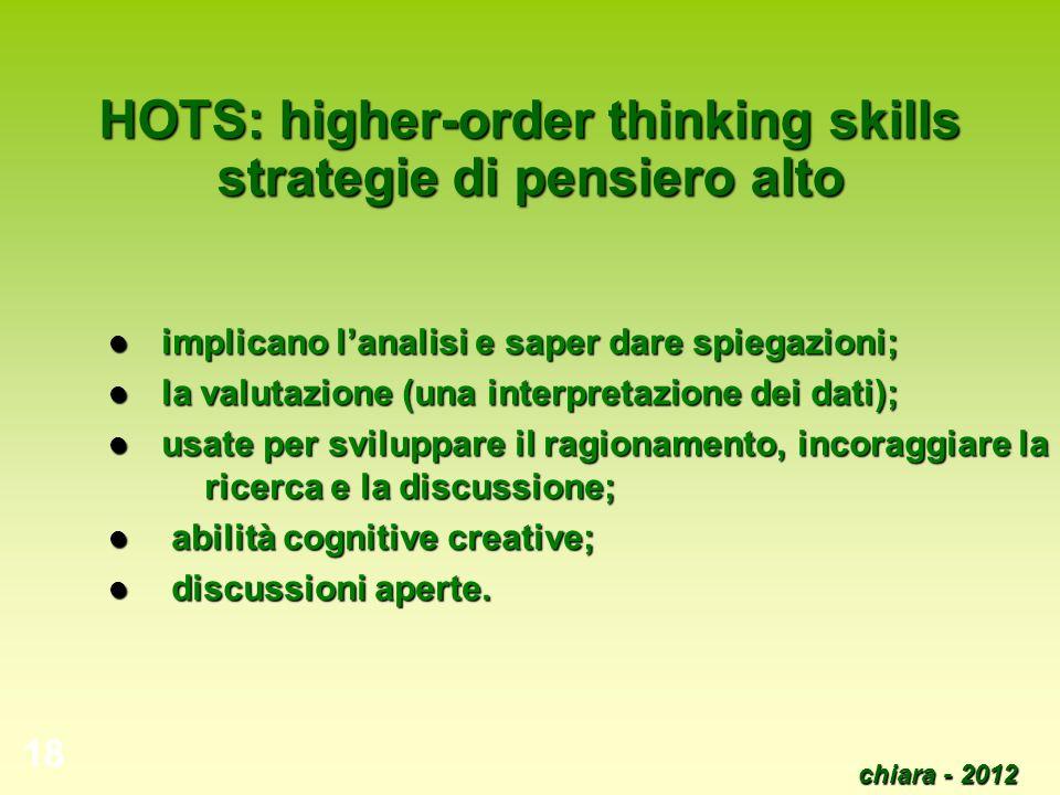chiara - 2012 19 BICS (Basic Interpersonal Communication Skills) CALP (Cognitive Academic Language Proficiency)
