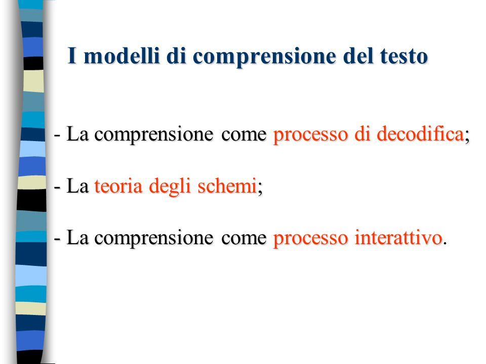 Il modello proposizionale n Il significato di un testo viene processato in unità semantiche (proposizioni: un concetto che funge da predicato e uno o più argomenti) Stefano regala un CD a Paolo.