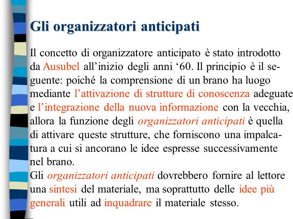 Esempio: gli organizzatori anticipati In the 1970s discourse researchers resurrected and summarized Bartletts work as they began studying the organizational, selective, and connective nature of meaning making in discourse understanding.