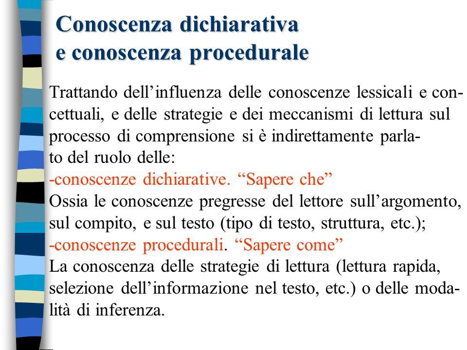 Conoscenza condizionale Sapere quando Lacquisizione di conoscenze dichiarative e procedu- rali, da sola, non garantisce lesecuzione di una lettura strategica.