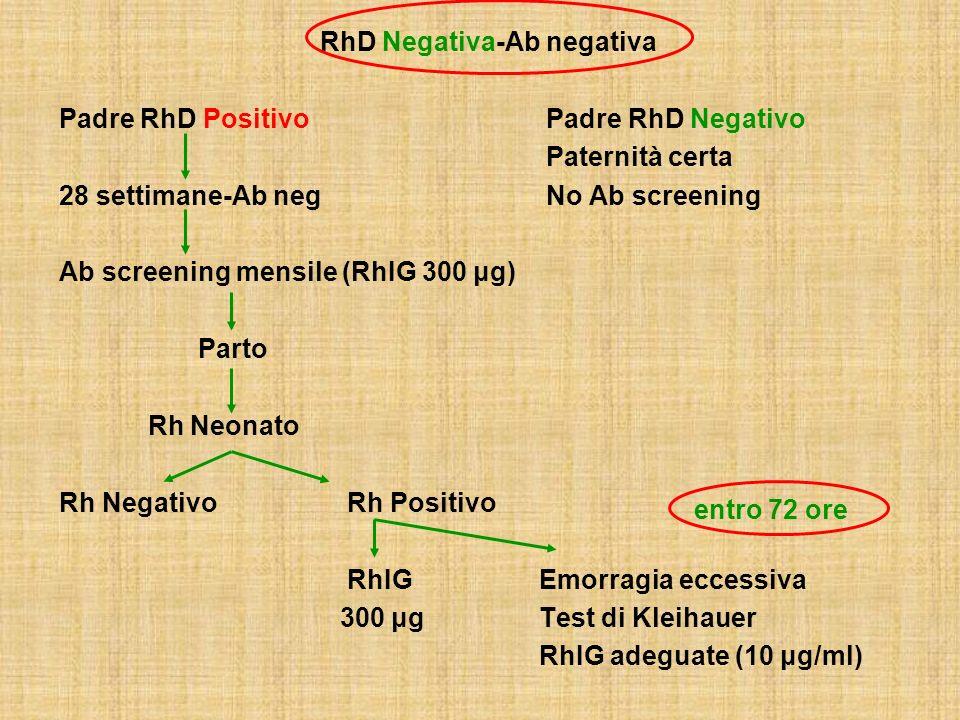 RhD Negativa - Ab Positiva Risposta immune primaria (IgM) Presenza di AgRhD fetale Risposta secondaria Passaggio trasplacentare di IgG Complesso Ag-Ab Emolisi AnemiaProdotti di degradazione