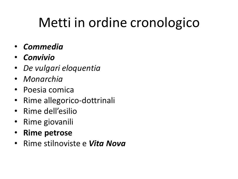 Catalogo delle opere Rime giovanili (dal 1283) Rime stilnoviste e Vita Nova (1293-95) Poesia comica (1290-96) Rime petrose (1296-98) Rime allegorico-dottrinali (1290-1300) Rime dellesilio (1302-1307) Convivio (opera incompiuta, 1304-1308) Commedia (1304-1321) De vulgari eloquentia (opera incompiuta,1303/04) Monarchia (1310-13 o 15) Altre opere: Fiore, Detto dAmore, Epistole, Egloghe, Quaestio de aqua et terra