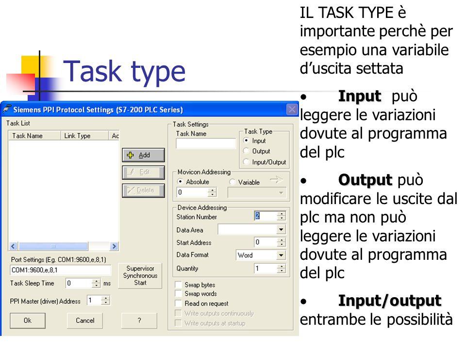 E necessario impostare task name: uno task type task type: input/output indirizzo: Conviene partire da 0 e poi in successione indirizzare le altre variabili numero della stazione: 2 data area: Discrete Output start address: dipende dal dato da leggere nel PLC, ad esempio: dicendo 0 legge le prime 8 uscite o i primi 8 ingressi data format: byte (che ovviamente permette di gestire anche i bit) quantity: 1 byte