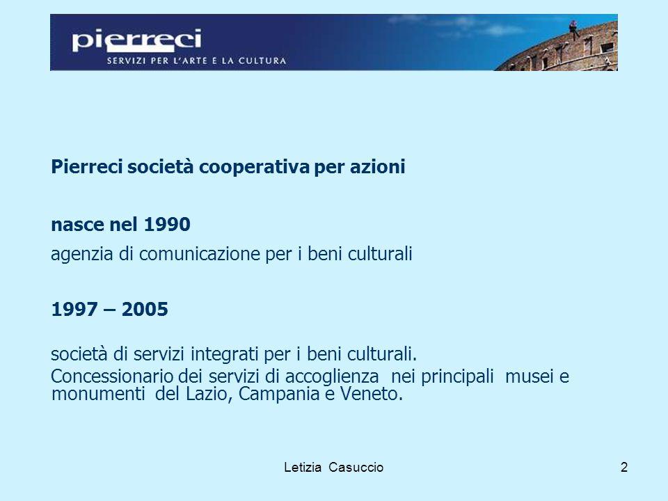 Letizia Casuccio3 Le attività Biglietteria e Accoglienza Visite Didattiche Laboratori per bambini Audioguide Gestione librerie museali Call center Promozioni e direct marketing Informazione turistica