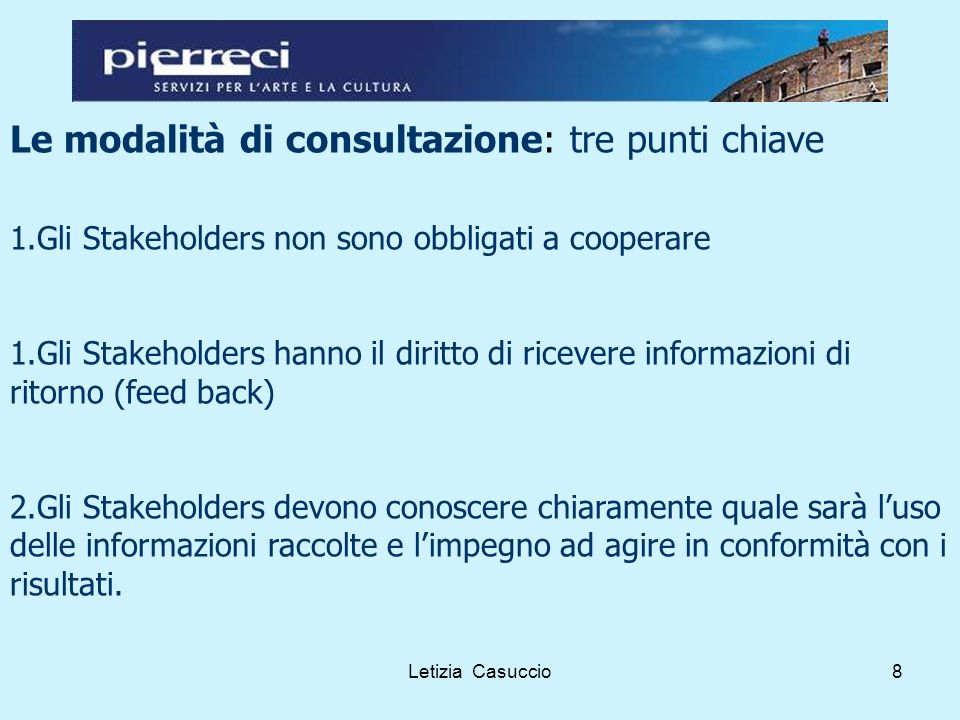 Letizia Casuccio9 Le modalità di consultazione: i Temi da trattare Gli argomenti sono in funzione della responsabilità assunta dalla cooperativa o dai soggetti a cui intende rispondere
