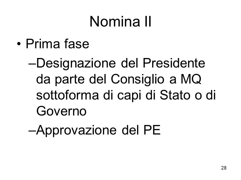 Nomina III Seconda fase –Elenco dei commissari da parte del Consiglio a MQ con il Presidente sulla base delle indicazioni dei Governi –Approvazione collettiva da parte del PE Nomina ufficiale