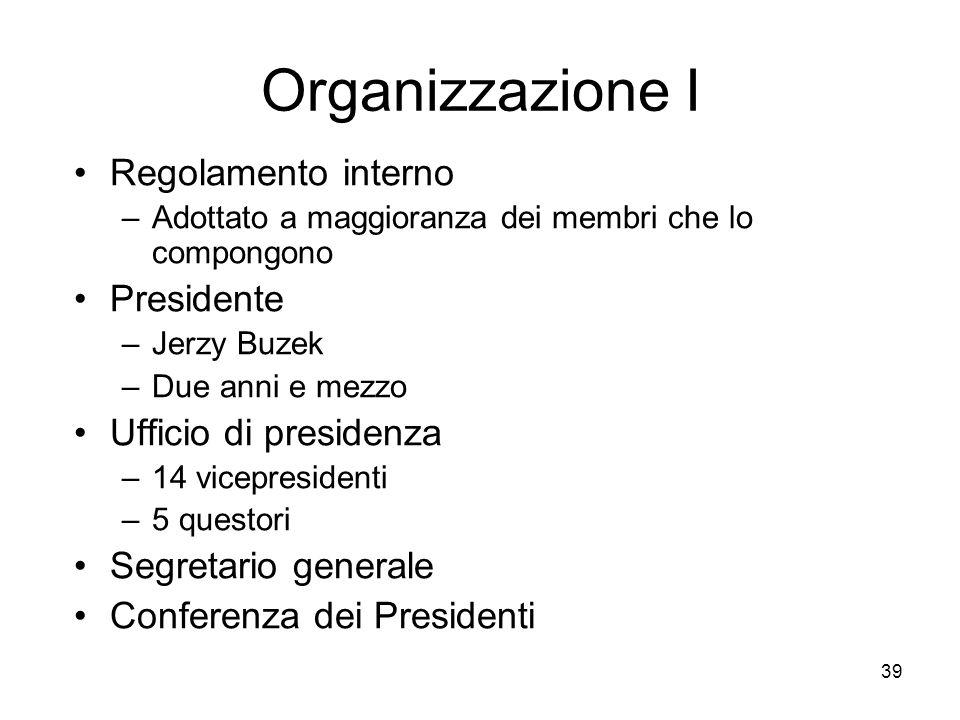 40 Organizzazione II Conferenza dei Presidenti di Commissione Commissioni permanenti –Potere consultivo –A volte deliberante Commissioni temporanee –Di inchiesta –Miste Delegazioni interparlamentari