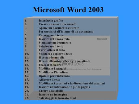 Microsoft Word 2003 1. Interfaccia grafica 2.Creare un nuovo documento 3.Aprire un documento esistente 4.Per spostarsi all'interno di un documento 5.Correggere.