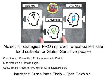 Molecular strategies PRO improved wheat-based safe food suitable for Gluten-Sensitive people Coordinatore Scientifico: Prof.ssa Antonella Furini Dipartimento.