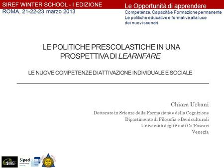 SIREF WINTER SCHOOL - I EDIZIONE