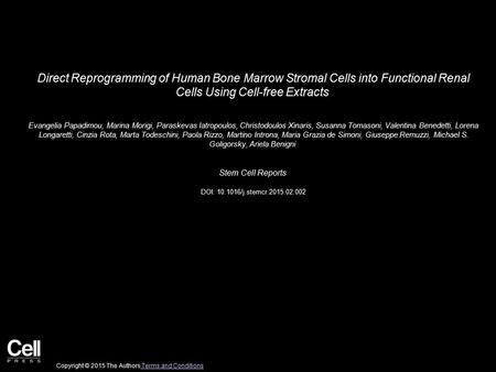 Direct Reprogramming of Human Bone Marrow Stromal Cells into Functional Renal Cells Using Cell-free Extracts Evangelia Papadimou, Marina Morigi, Paraskevas.