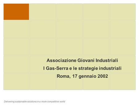 Delivering sustainable solutions in a more competitive world Associazione Giovani Industriali I Gas-Serra e le strategie industriali Roma, 17 gennaio 2002.