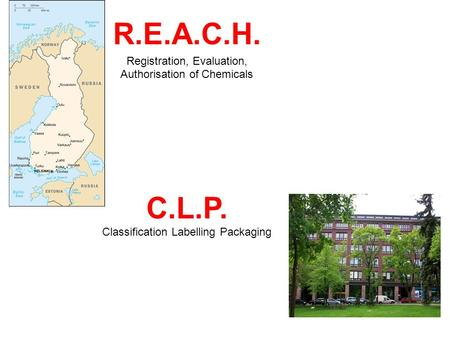 R.E.A.C.H. Registration, Evaluation, Authorisation of Chemicals C.L.P. Classification Labelling Packaging.