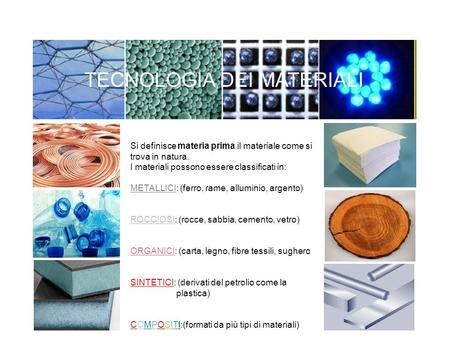 TECNOLOGIA DEI MATERIALI GGGG Si definisce materia prima il materiale come si trova in natura. I materiali possono essere classificati in: METALLICI: (ferro,