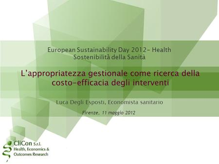 European Sustainability Day Health Sostenibilità̀ della Sanità
