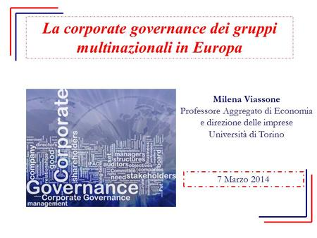 La corporate governance dei gruppi multinazionali in Europa
