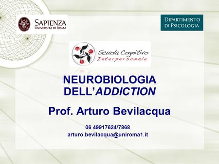 06 49917624/7868 NEUROBIOLOGIA DELL'ADDICTION Prof. Arturo Bevilacqua.