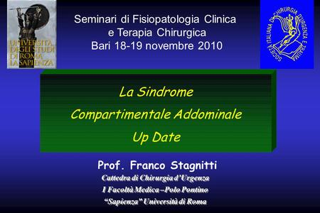 La Sindrome Compartimentale Addominale Up Date