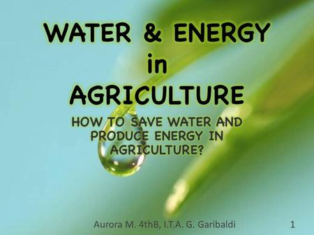Aurora M. 4thB, I.T.A. G. Garibaldi1. Aurora M. 4° B, I.T.A. G. Garibaldi2 DRIVING QUESTION + ANSWER METHODS DRY FARMING AGRO-ENERGY PHOTO GALLERYWATER.