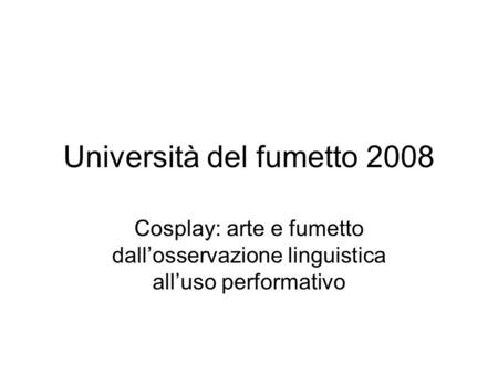 Università del fumetto 2008
